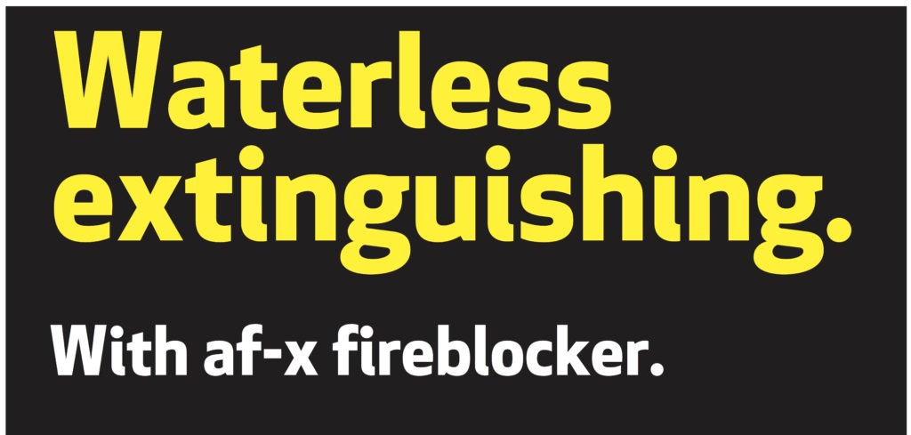 Waterless extinguishing with afx fireblocker